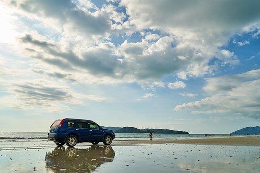 Car, Beach, Landscape, Environmental, Summer, Light
