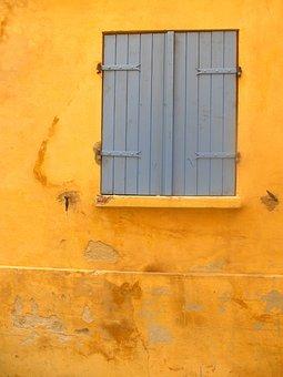 Yellow, Window, Shutter, Home, Old Town, Facade
