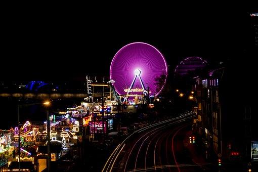Ferris Wheel, Long Time Exposure, Cologne, Fair, Pink