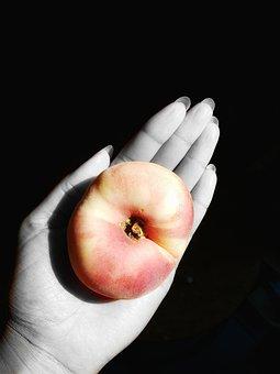 Black, Grey, Hand, Black White, Fruit, Peach