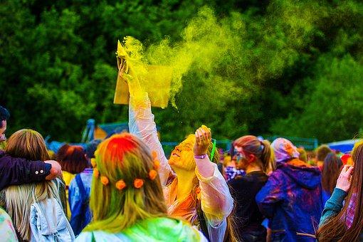 The Festival Of Colors, Holi, Moscow, 2017, Flashmob