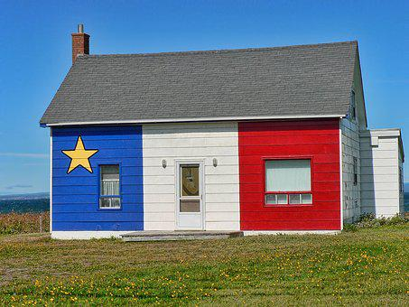 Acadian House, New Brunswick, Canada, Flag, Patriotic
