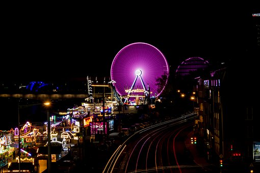 Ferris Wheel, Long Time Exposure, Cologne, Fair, Pink