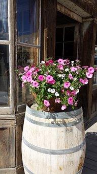 Barrel, Flowers, Pink Flowers, Porch, Rustic, Vintage