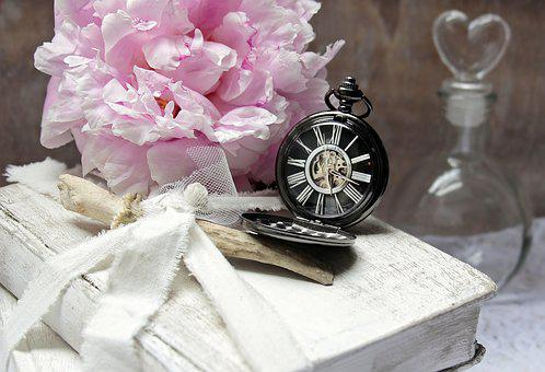Books, Pocket Watch, Peony, Flacon, Heart Bottle, Worn