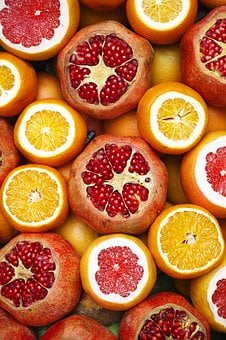 Pomegranate, Red, Orange, Yellow, Fresh, Healthy Eating