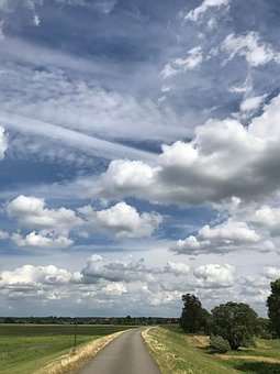Sky, Road, Nature, Landscape, Blue, Trees, Idyllic