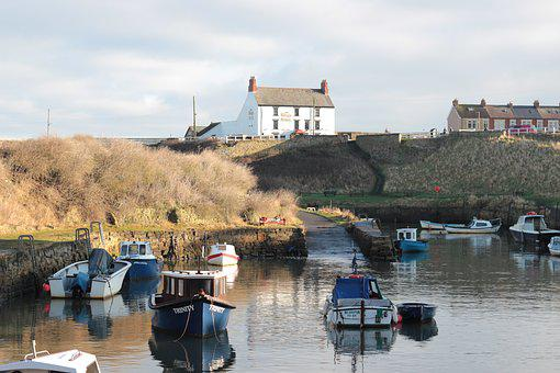 Seaton Sluice, Village, Canal, Boats, Port