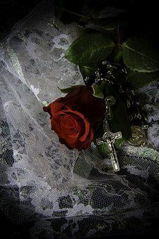 Red Rose, Crucifix, Religion, Cross, Red, Rose