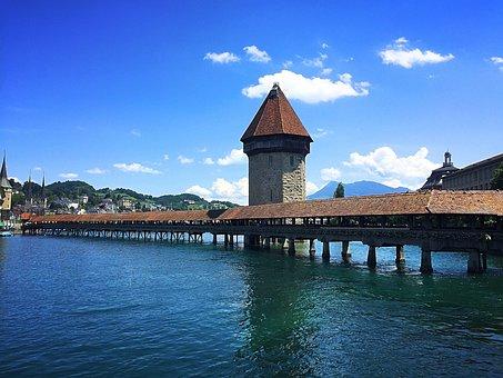 Lucerne, Bridge, Kappellbrücke, Switzerland, Reuss