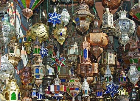 Marrakech, Market, Lamps, Luminaires, Crafts, Copper