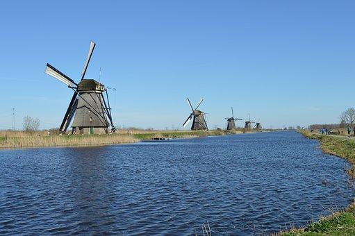 Mill, Mills, Kinderdijk, Holland, Netherlands