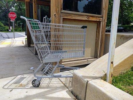 Cart, Shopping, Shopping Cart, Supermarket, Bus Stop