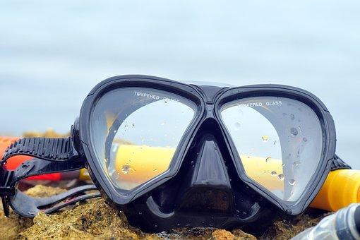 Diving Mask, Diving, Nature, Sea, Snorkel, Wet, Glasses