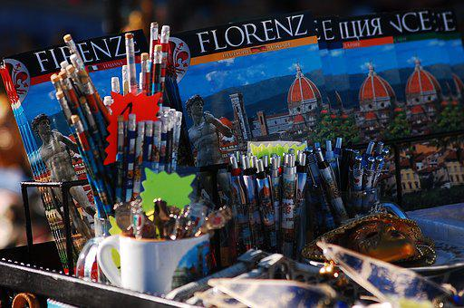 Souvenirs, Italy, Florence, Tour, Tourism, Booth