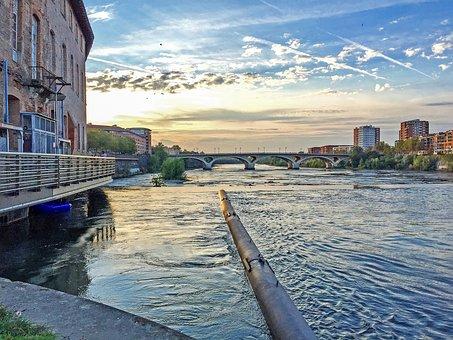 France, Paris, River, Pond, Lake, Wall, Bridge, Summer