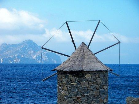Windmill, Amorgos, Cyclades, Aegean Sea, Greece