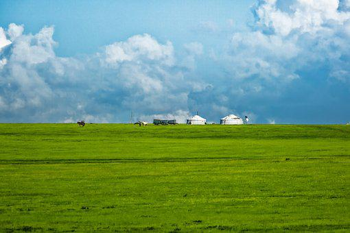 Hilly, Gel, Meadow, Cloud, Bayan Audio Bo, Mongolia