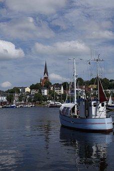 Flensburg, Port, St Jürgen, Water, Boats, Fjord, Church