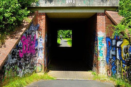 Tunnel, Underpass, Cyclists, Pedestrian, Transit