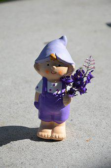 Garden Gnome, Violet, Overalls, Flowers In The Hand