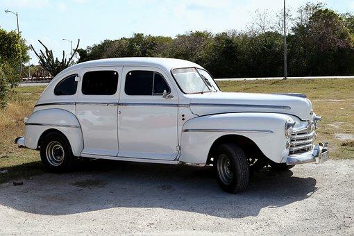 Cuba, Car, Ford, White, Vintage, Havana, Old, Retro