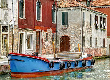 Barge, Murano, Italy, Canal, Historical, Boat, Pier
