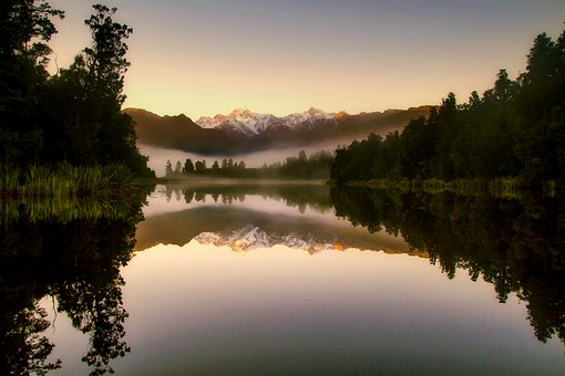 New Zealand, Landscape, Sunrise, Fog, Morning