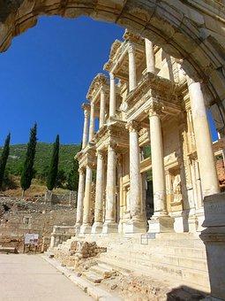 Ephesus, Celsus, Library, Turkey, Roman, Drop-off, Ruin