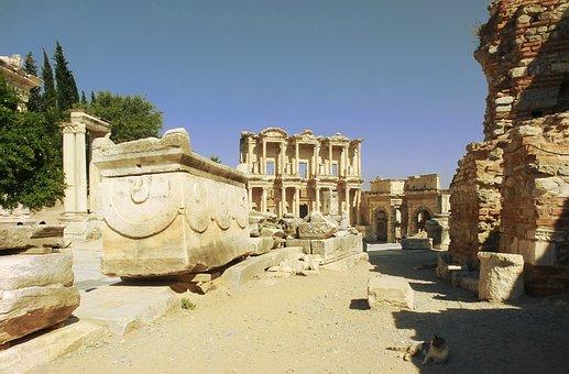 Street, Ephesus, Celsus, Library, Turkey, Roman