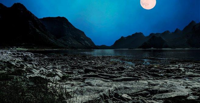 Moon, Landscape, Night, Light, Nature, Sky, Moonlight