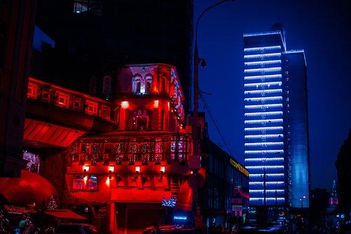 Moscow, Night, Lights, Evening City, Night Lights