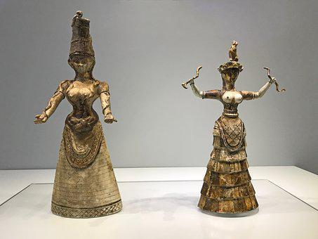 Crete, Museum, Historically, Old, Minoan, Snake Goddess