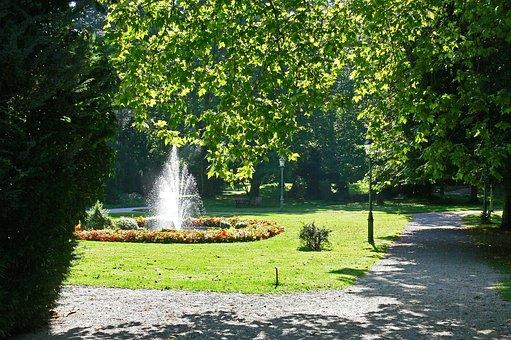 In The Kurpark, Fountain, Pond, Rush, Flowers