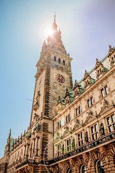 Town Hall, Hamburg, Elbe, Port, Port City, Ship