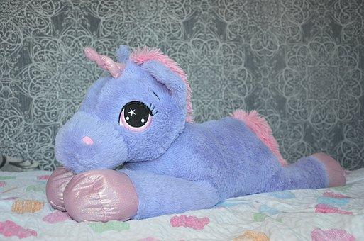 Unicorn, Teddy Bear, Purple, Pink, Purry, Children