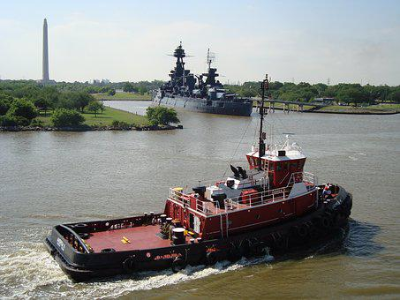 United States, Houston, Battleship, River, Tug, Obelisk