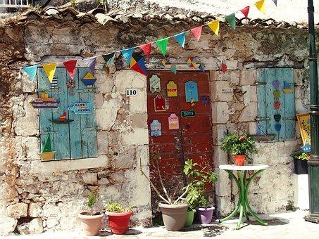 Greek, Pennants, Wall, Door, Signs, Funny, Shutters