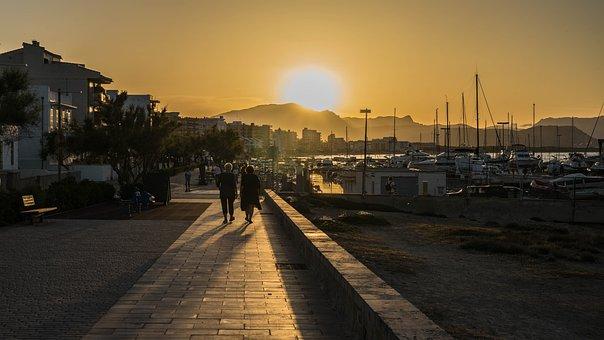 Promenade, Summer, Sunset, Spain, Mallorca, Port