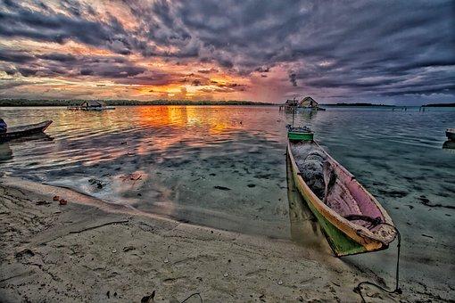 At Dusk, Lagoon, Dugout Canoe, Widi Islands, Halmahera