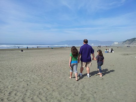 Beach, Walk, San Francisco, Famity, Douthers, Father