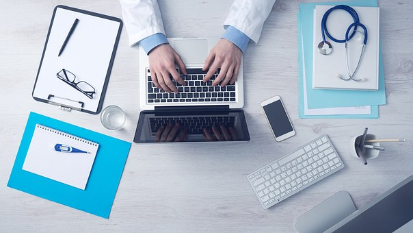 Computer, Business, Typing, Keyboard, Laptop, Doctor