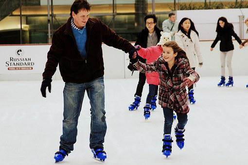 Skates, Ice, Father And Daughter, Rink, Family, England