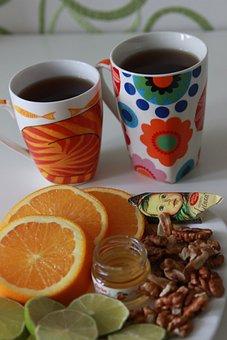 Tea Time, Orange, Table, Tea Cups, Morning, Breakfast