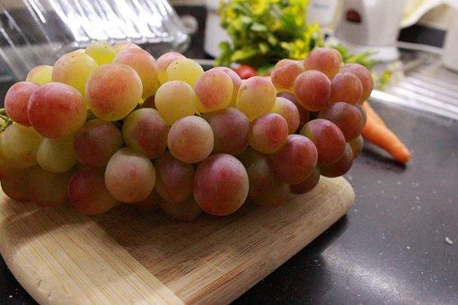 Raisin, Red Grape, Carrot, Orange, Chopping Board, Wood