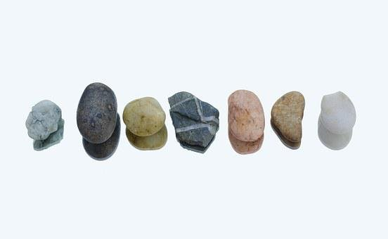 Pebbles, Row, Colors, Reflection, White, Nature, Rock