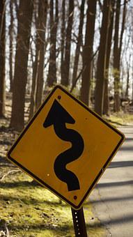 Sign, Street, Yellow, Curvy, Curved, Road, Warning