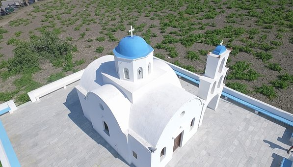 Church, Aerial Photo, Santorini, Blue, Greece