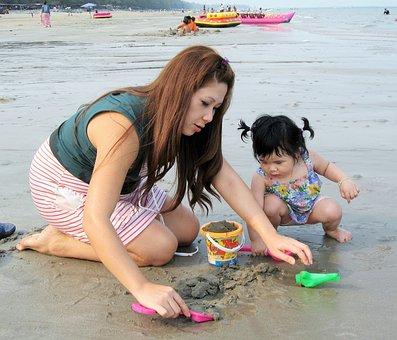 Sea, Kids, Happiness, People, Thailand, Holidays