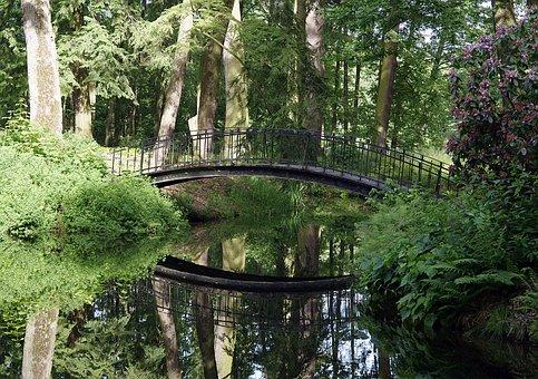 Bridge, Park, Pond, Water, Reflection, Romantic, Green
